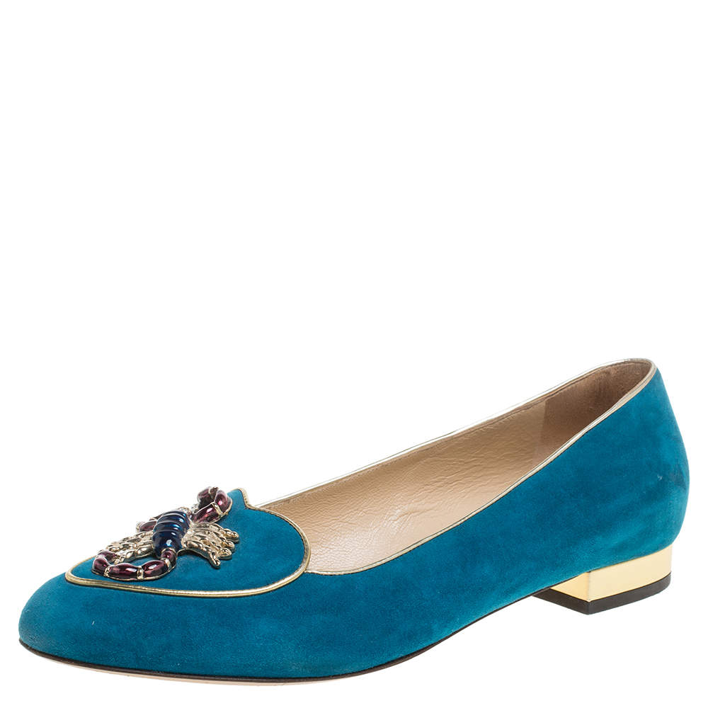 Charlotte Olympia Blue Suede Scorpio Smoking Slippers Size 37.5