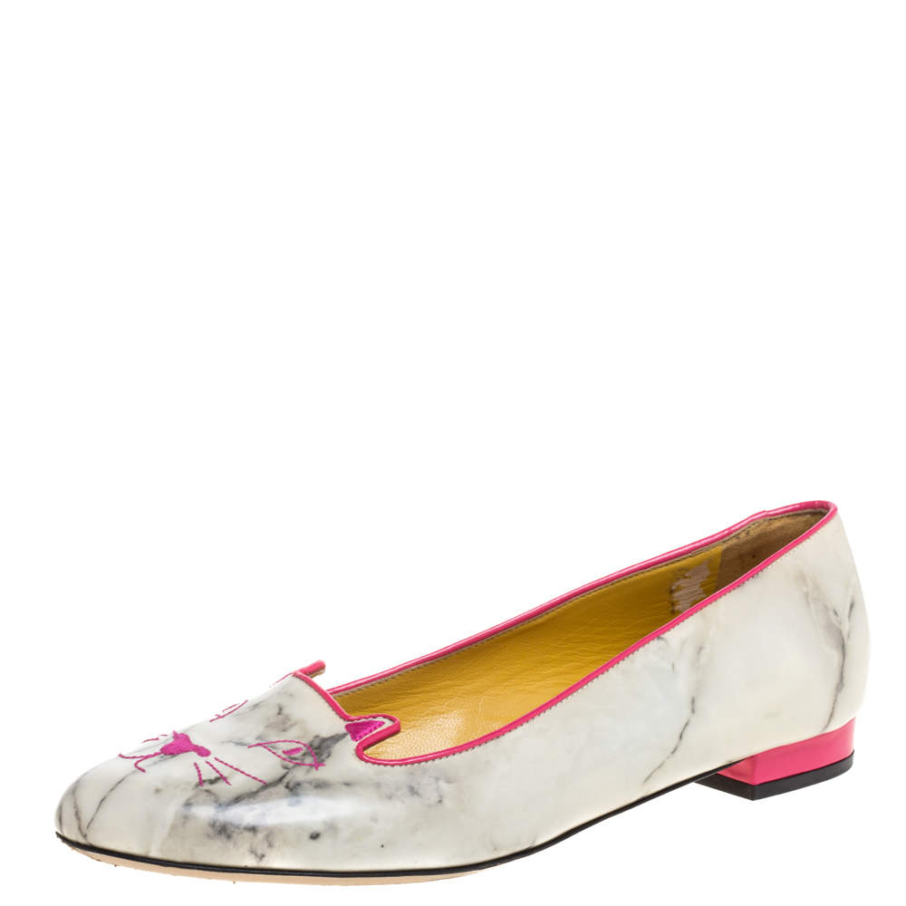 Charlotte Olympia Light Grey/Pink Marble Leather Kitty Flats Size 41