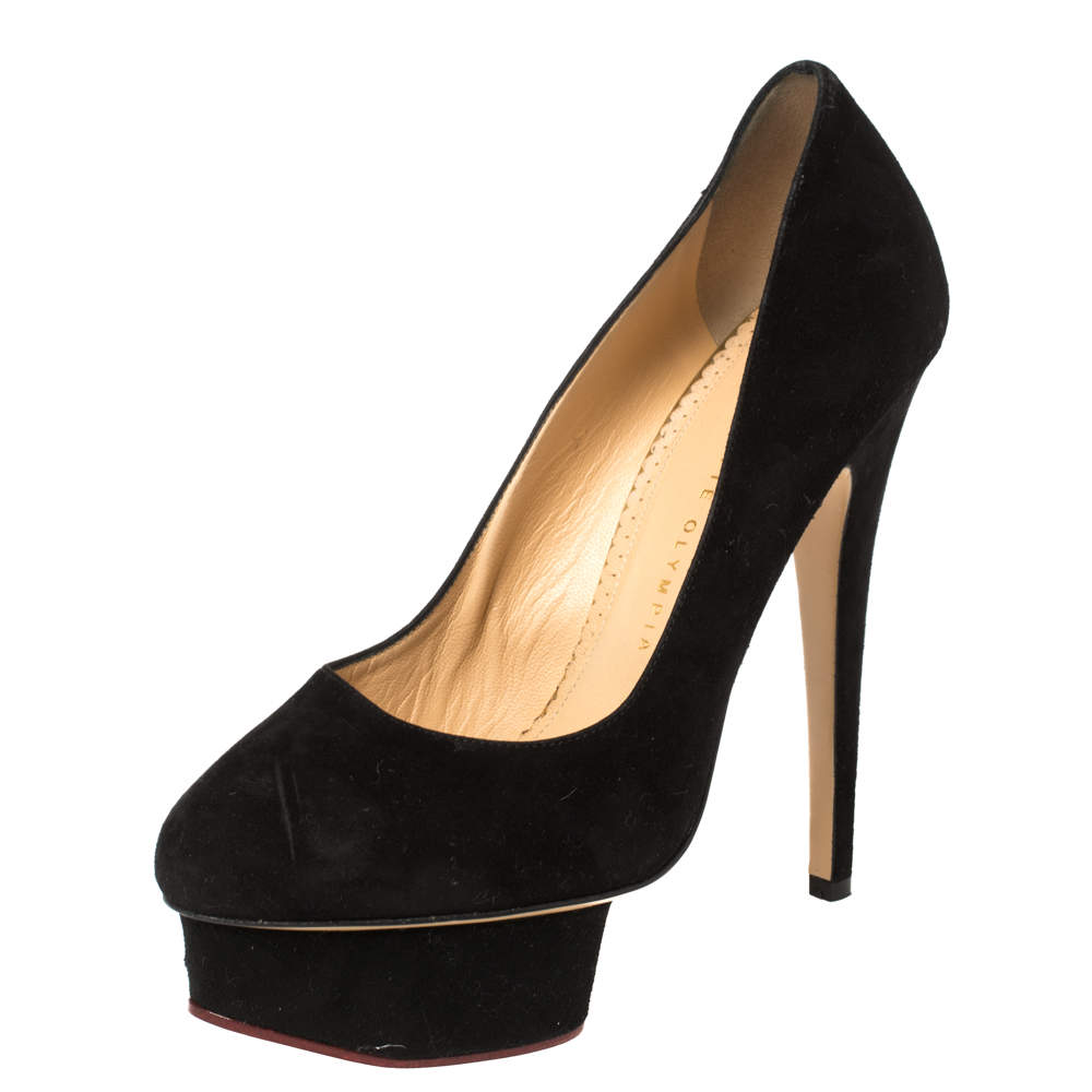 Charlotte Olympia Black Suede Leather Dolly Platform Pumps Size 38