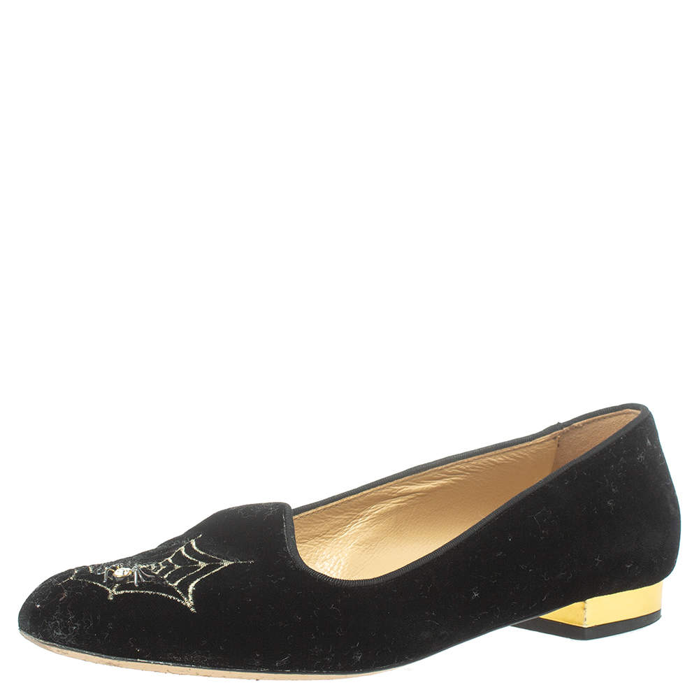 Charlotte Olympia Black Velvet Spider Embellished Smoking Loafers Size 38