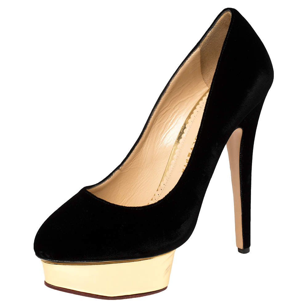 Charlotte Olympia Black Velvet Dolly Platform Pumps Size 40
