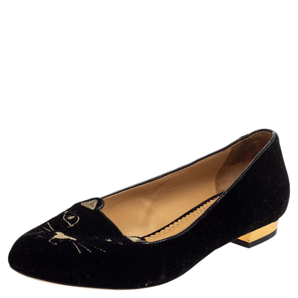 حذاء فلات باليه شارلوت أوليمبيا كيتى قطيفة أسود مقاس 38