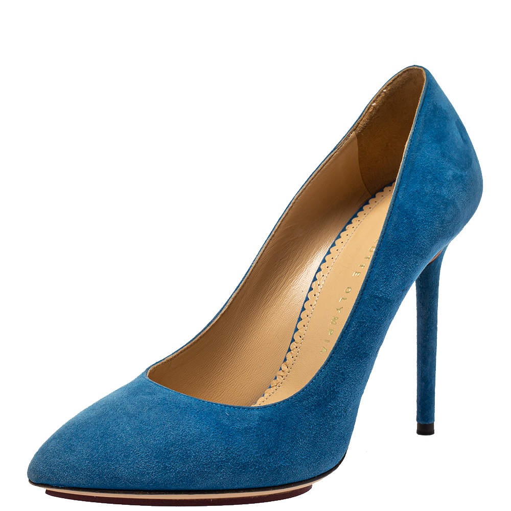 Charlotte Olympia Blue Suede Monroe Pointed Toe Pumps Size 39