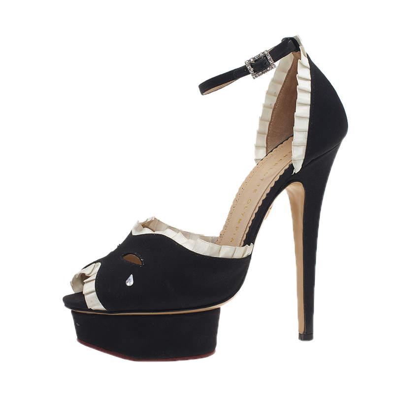 Charlotte Olympia Black Satin Masquerade Ankle Strap Platform Sandals Size 38
