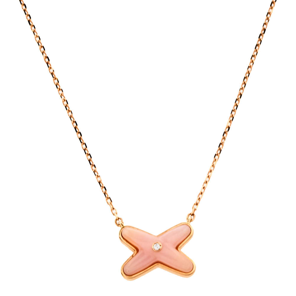 Chaumet Jeux De Liens Pink Opal Diamond 18K Rose Gold Necklace