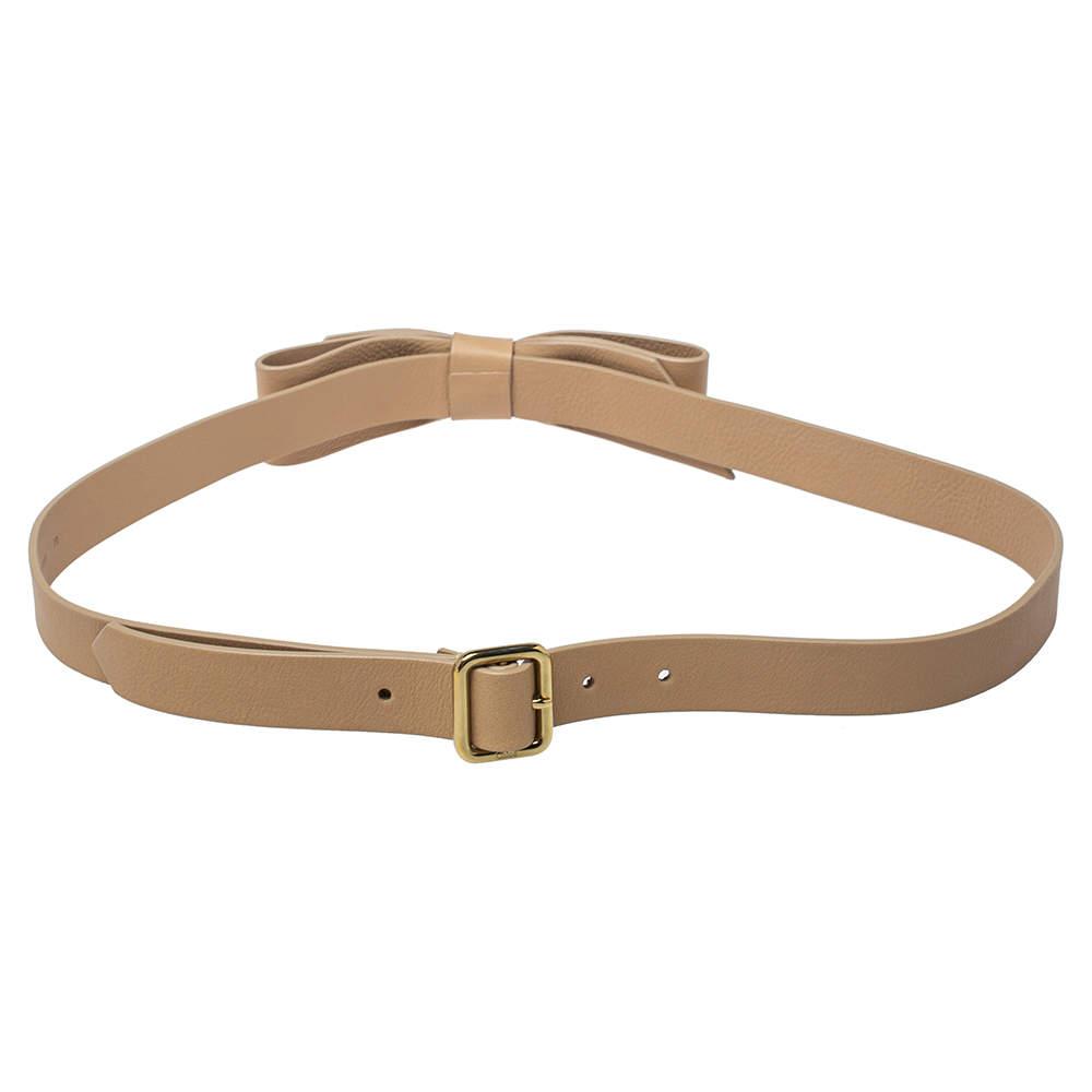 Chloe Beige Leather Bow Belt 90CM