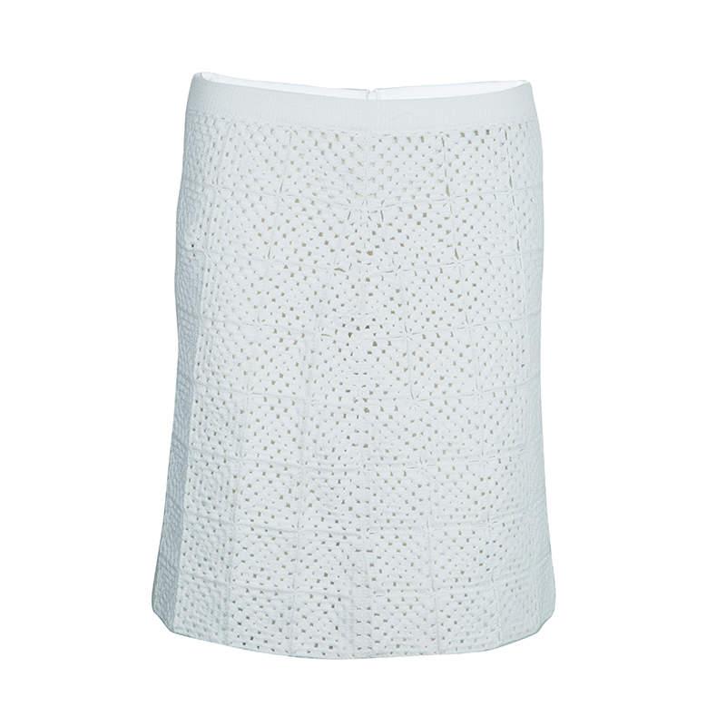 Chloe White Crochet Knit Skirt M