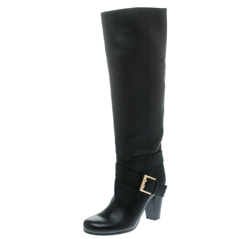 Chloe Black Leather Knee High Boots Size 38