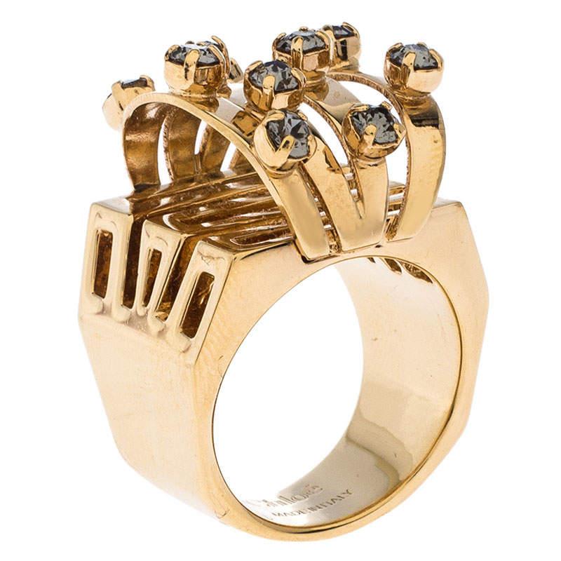 Chloe Crystal Embellished Gold Tone Cocktail Ring Size 56