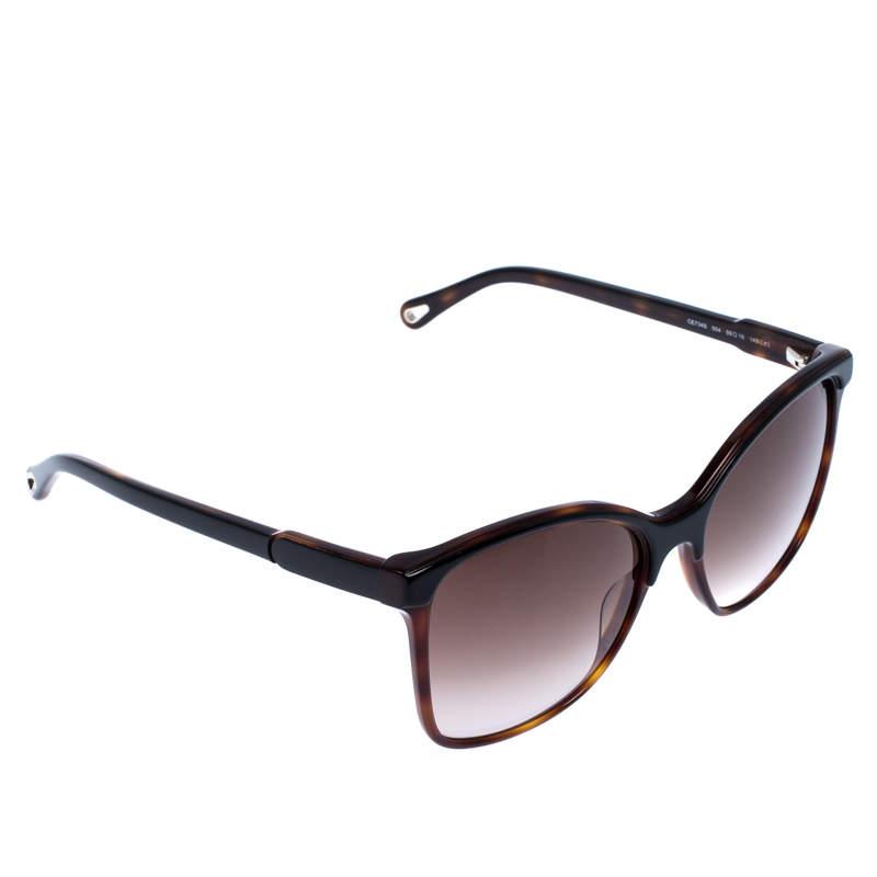 نظارة شمسية كلوي مربعة امبر تورتواز بنية داكنة