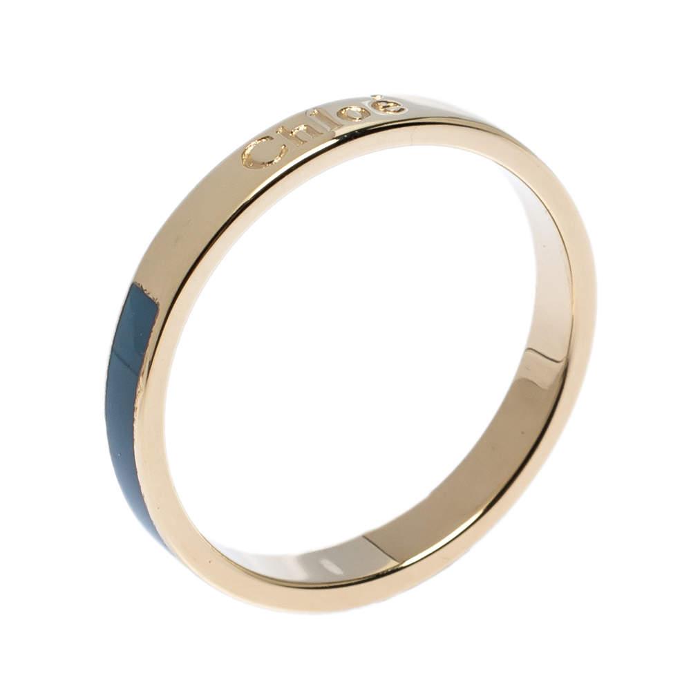 Chloe Blue Enamel Gold Tone Narrow Band Ring Size 54
