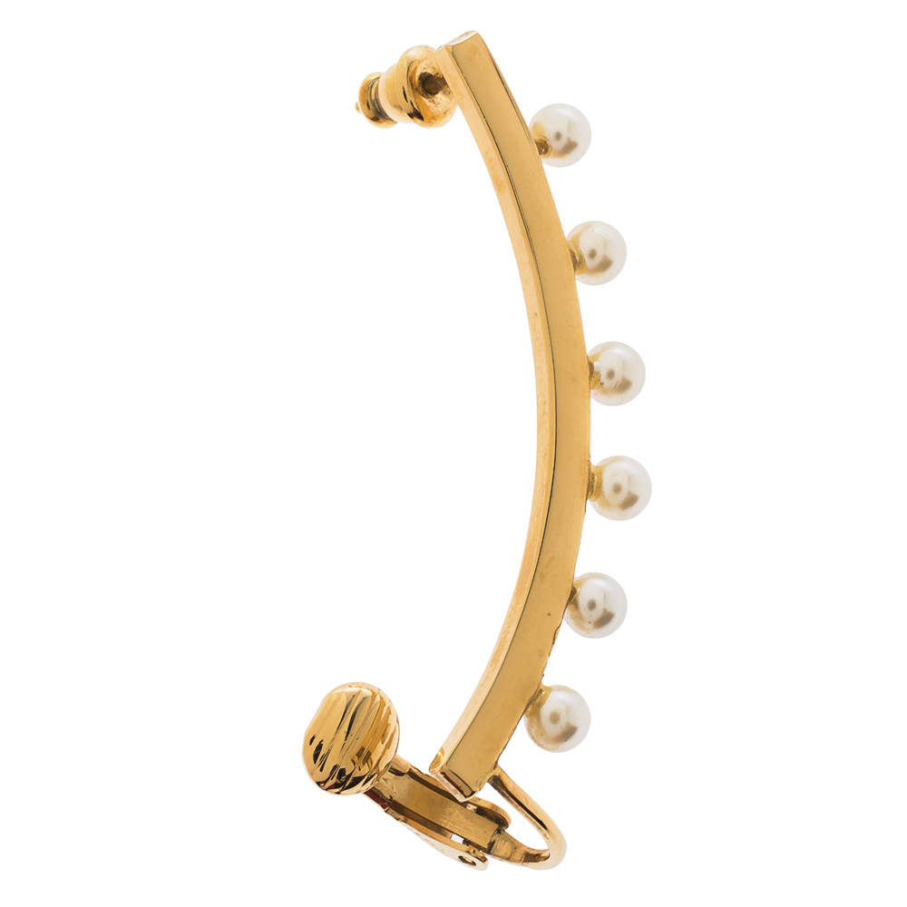Chloe Pearl Darcy Faux Pearl Gold Tone Single Ear Cuff