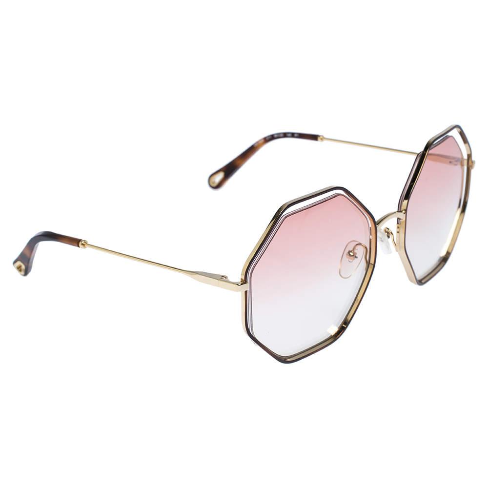 Chloe Gold/Pink Gradient CE132S Poppy Octagonal Sunglasses