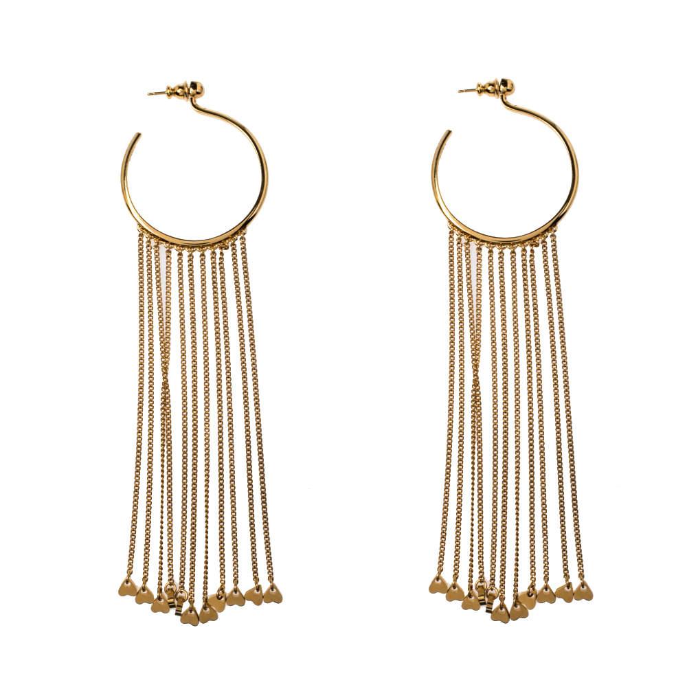 Chloe Gold Tone Meg Fringed Drop Hoop Earrings