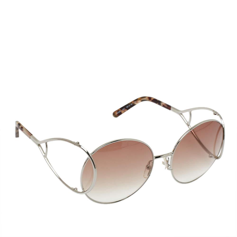 Chloé Silver Tone/ Brown Gradient CE124S Jackson Round Sunglasses