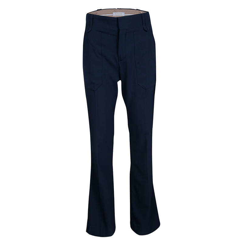 Chloe Navy Blue Wool Flared Bottom Pants S