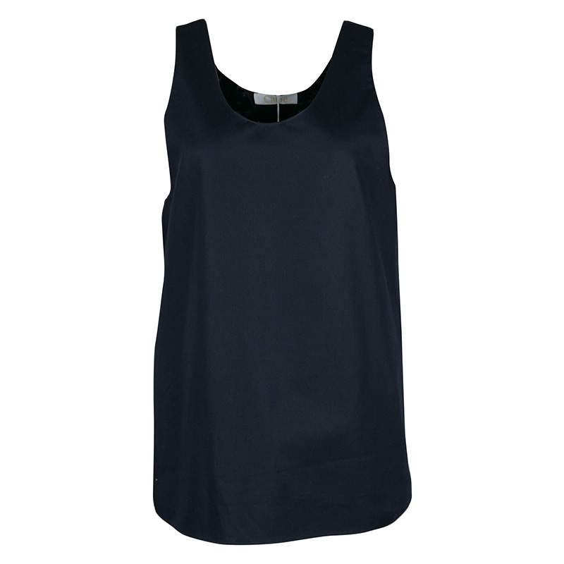 Chloe Navy Blue Woven Cotton Sleeveless Top M