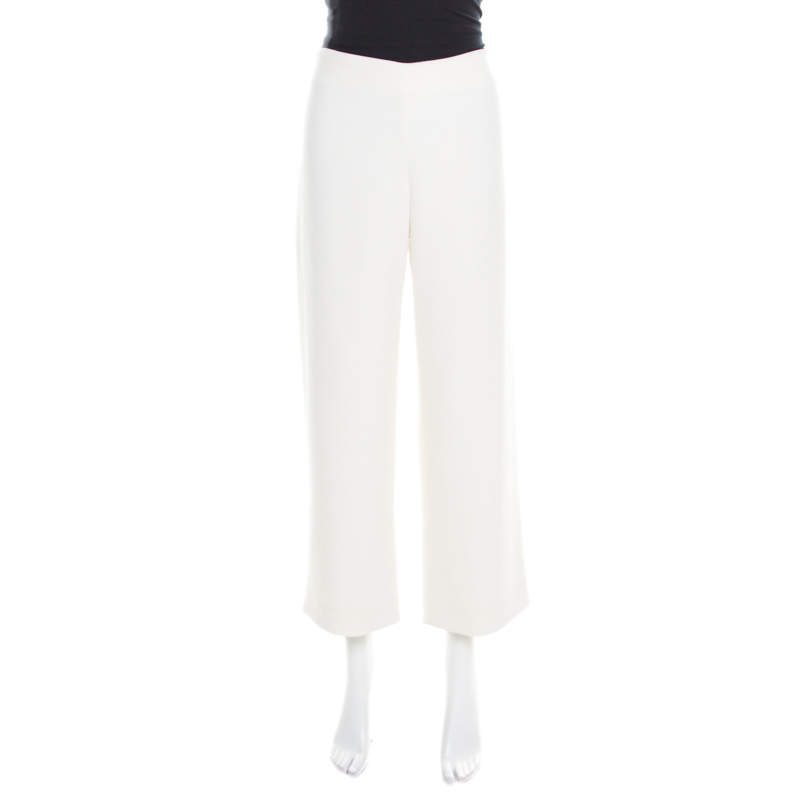 Chloe Warm White Crepe Tailored Wide Leg Cropped Trousers M