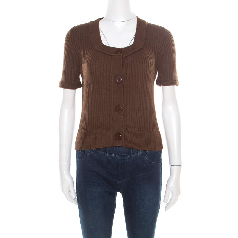 Chloe Brown Cotton and Linen Rib Knit Crop Top M