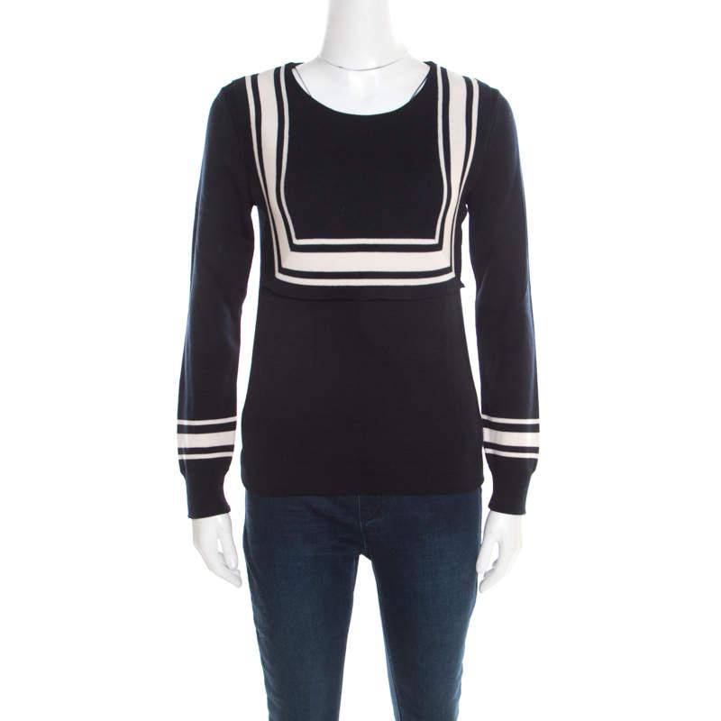 Chloe Navy Blue Wool Contrast Striped Trim Detail Sweater XS
