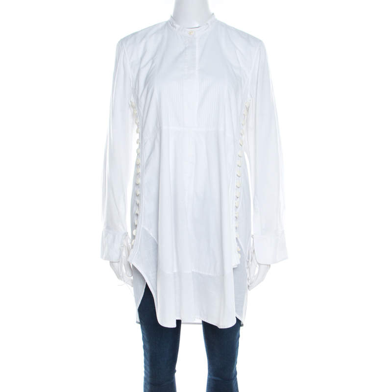 Chloe Iconic Milk White Cotton Poplin Buttoned Side Detail Shirt Dress S