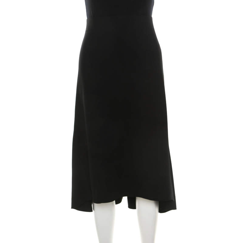 Chloé Black Crepe Knit Asymmetric Hem A Line Skirt M
