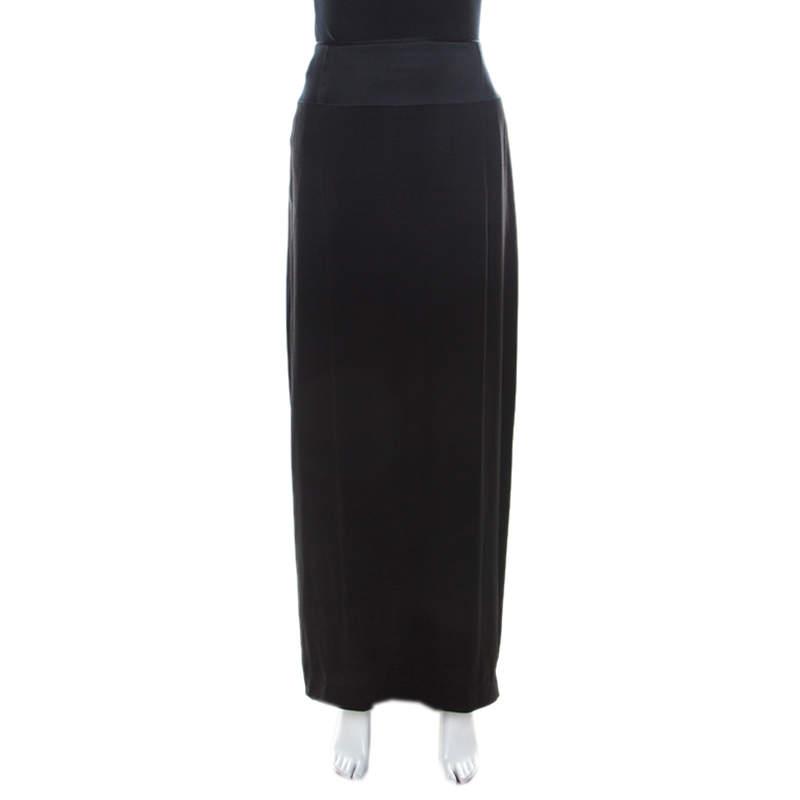 Chloe Black Silk and Crepe Pleated Train Detail Maxi Skirt M