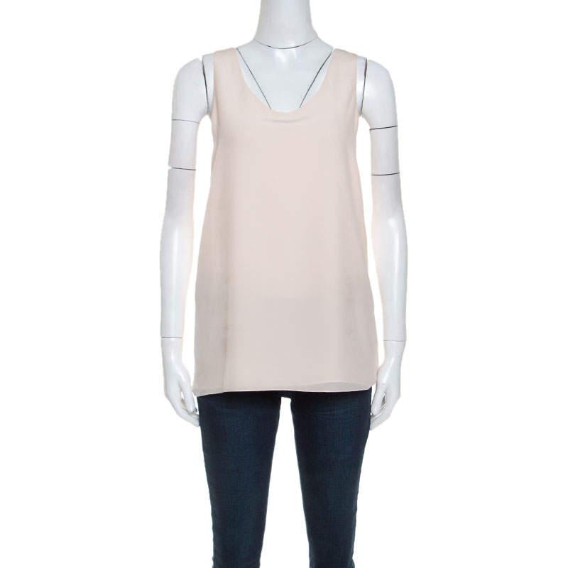 Chloe Peach Silk Sleeveless Tank Top M