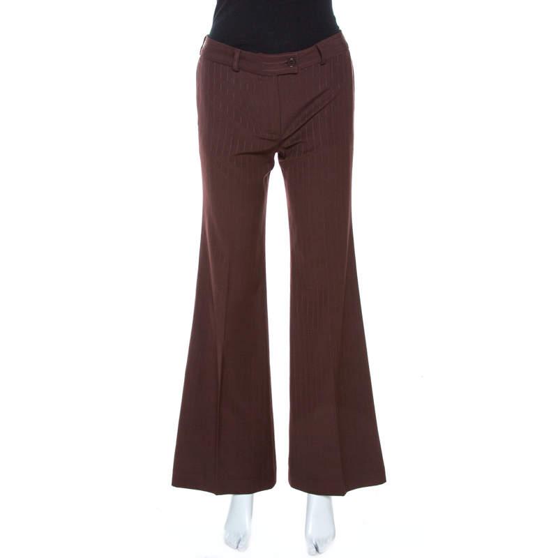 Chloe Brown Striped Wool Wide Leg Trousers S