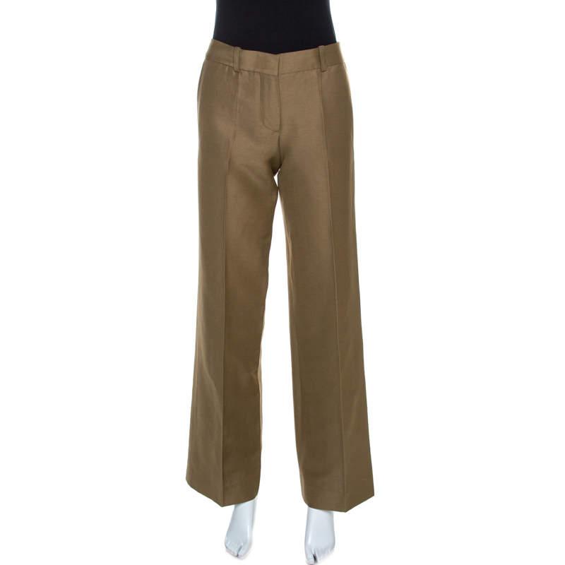 Chloe Light Brown Linen Blend Wide Leg Trousers M