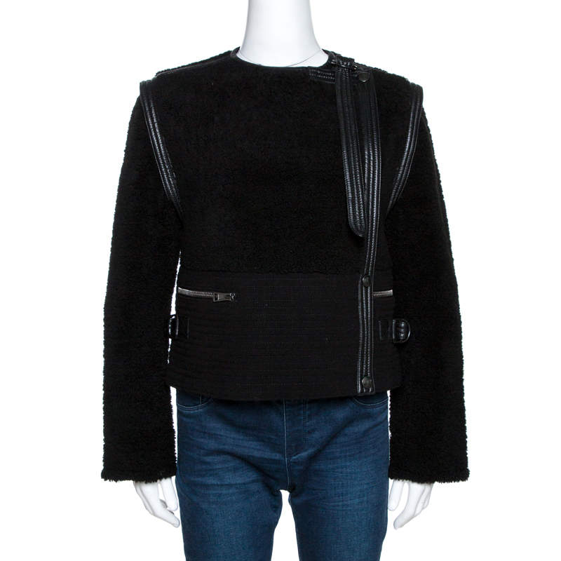 Chloe Black Shearling Leather Trim Biker Jacket S