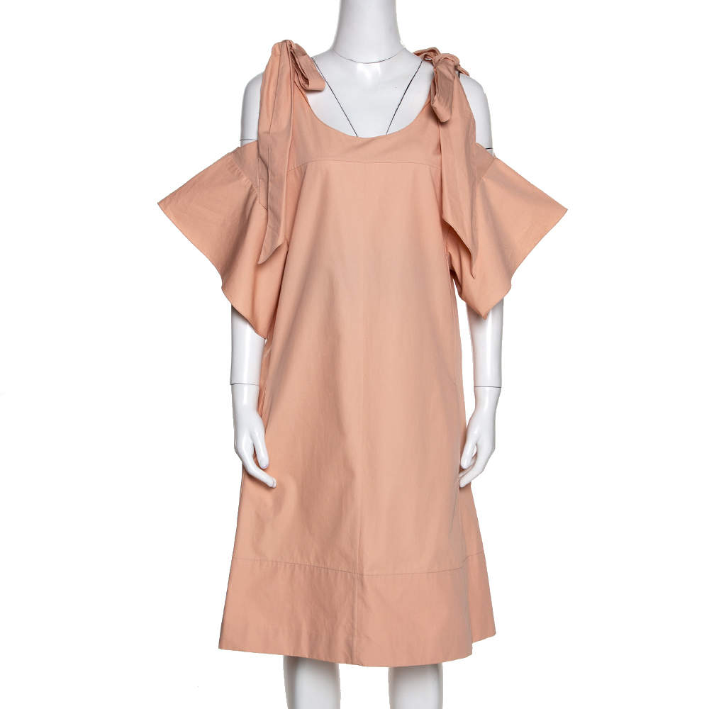 Chloe Pansy Pink Cotton Bow Detail Cold Shoulder Dress M
