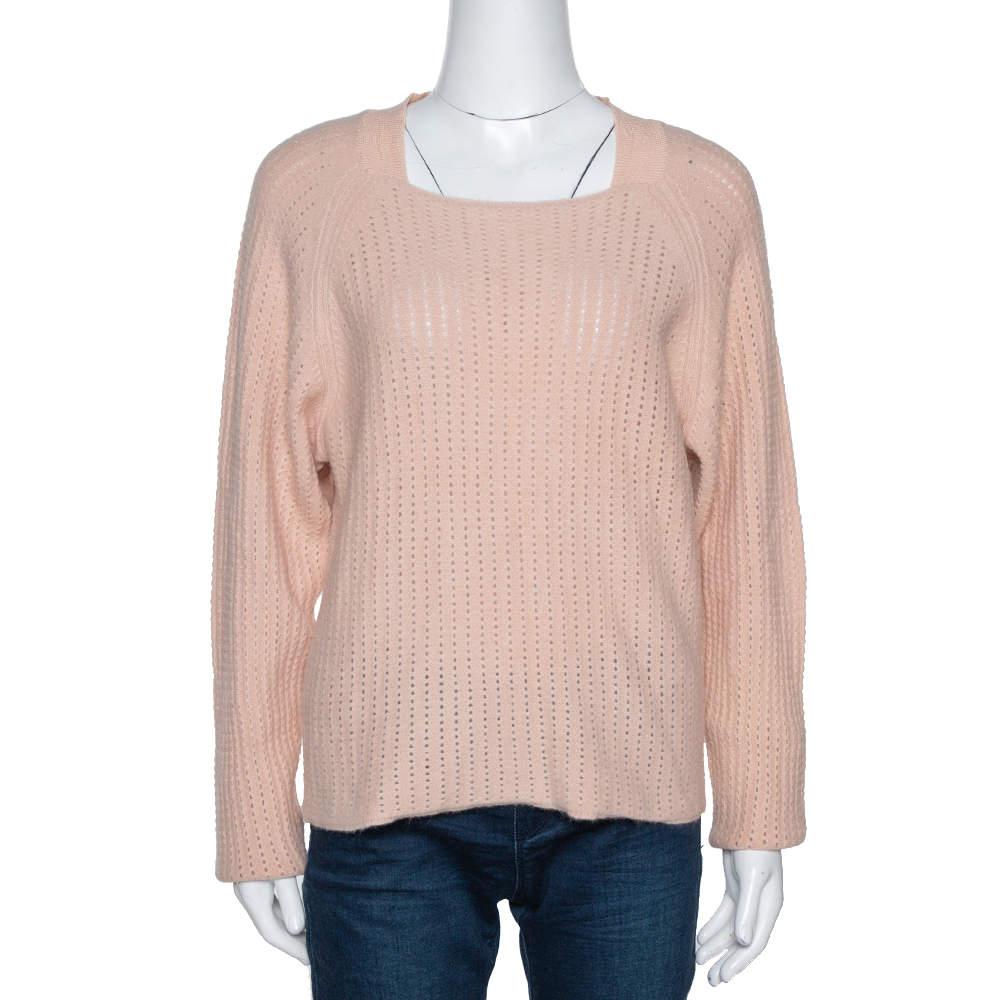 Chloe Peach Angora & Wool Knit Sweater L
