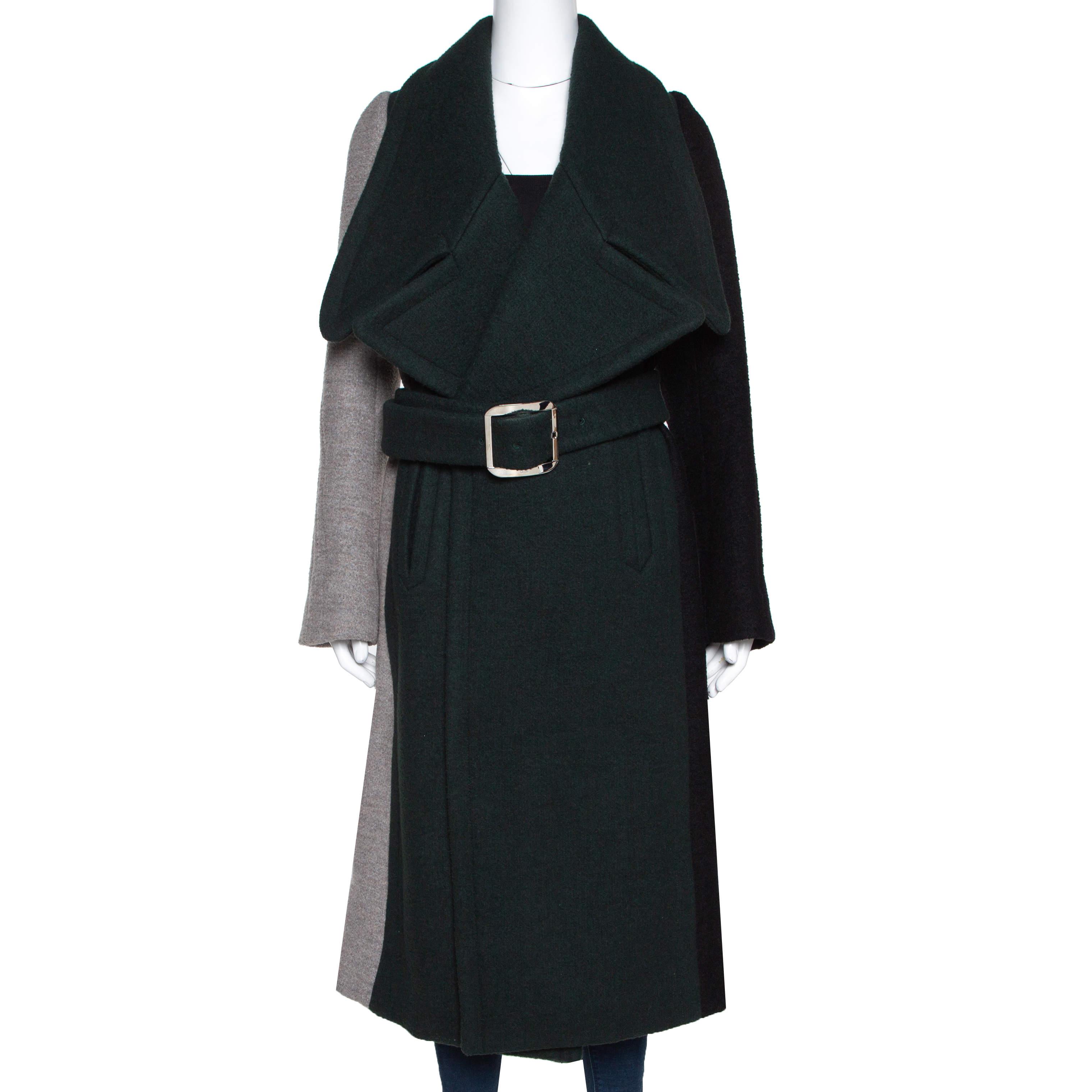 Chloé Colorblock Wool Blend Belted Long Coat M