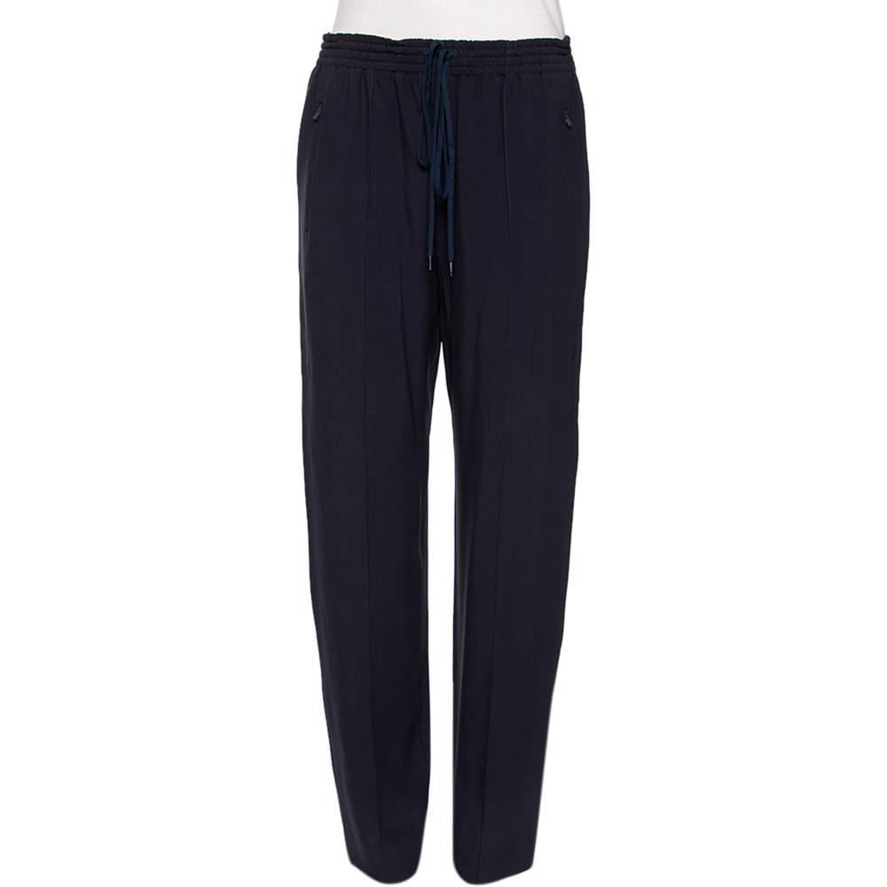 Chloe Navy Blue Drawstring Detail Pants M