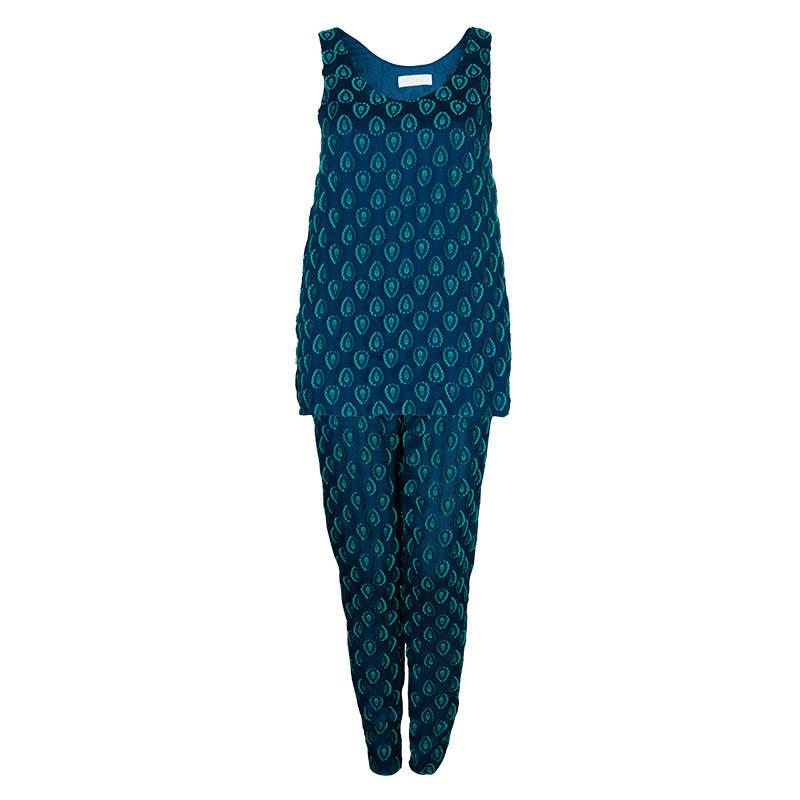 Chloe Cyan Blue Crinkled Silk Jacquard Top And Pants Set S