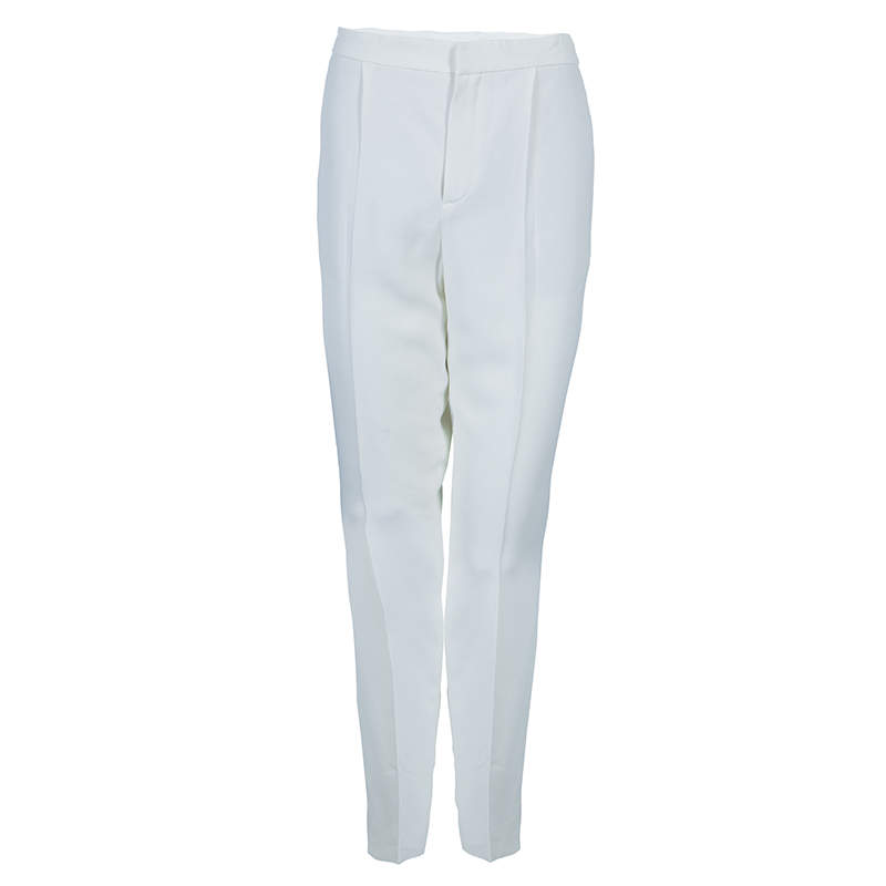 Chloe Off White Tailored Trousers M