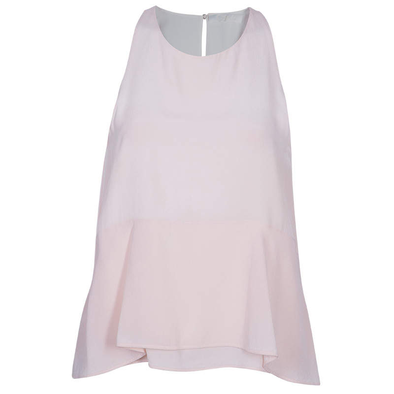 Chloe Pale Pink Silk Sleeveless Top  S