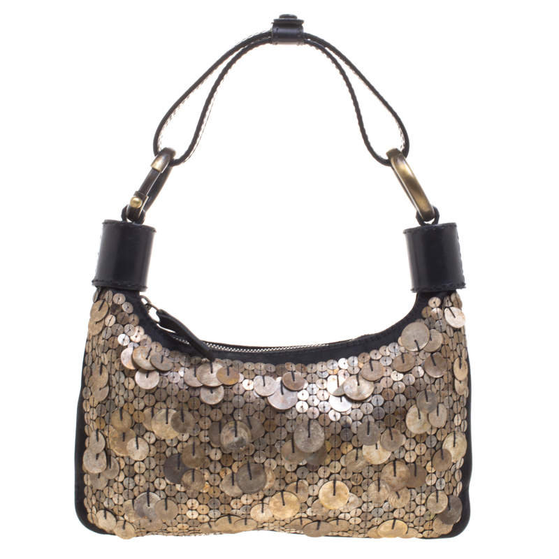 Chloe Black and Metallic Sequin Embellished Shoulder Bag