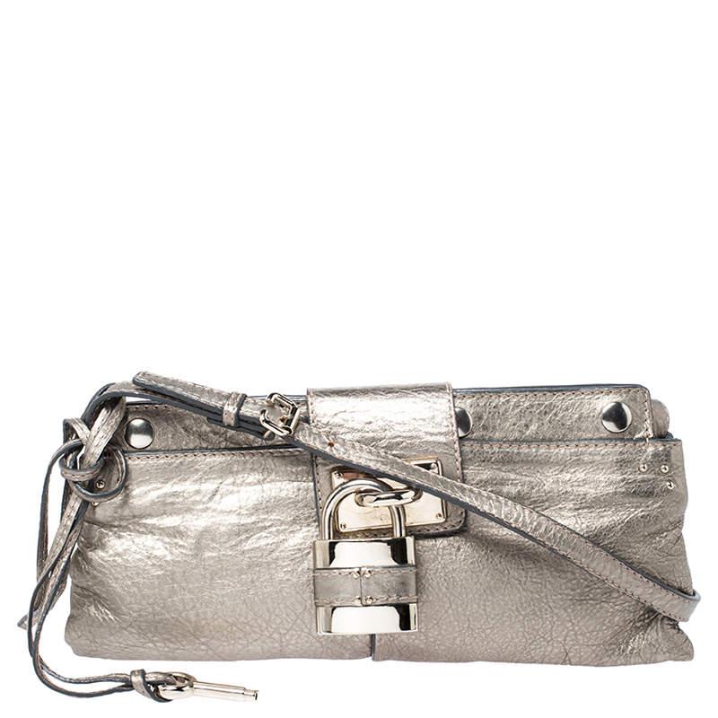 Chloe Metallic Gold Leather Padlock Chain Clutch
