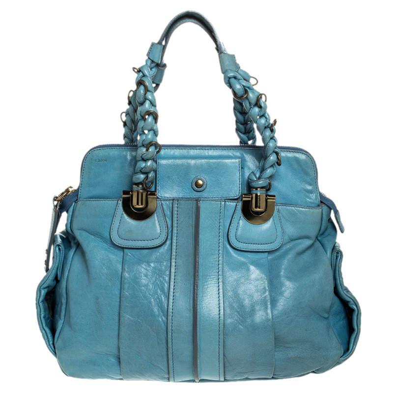 Chloe Light Blue Leather Heloise Satchel