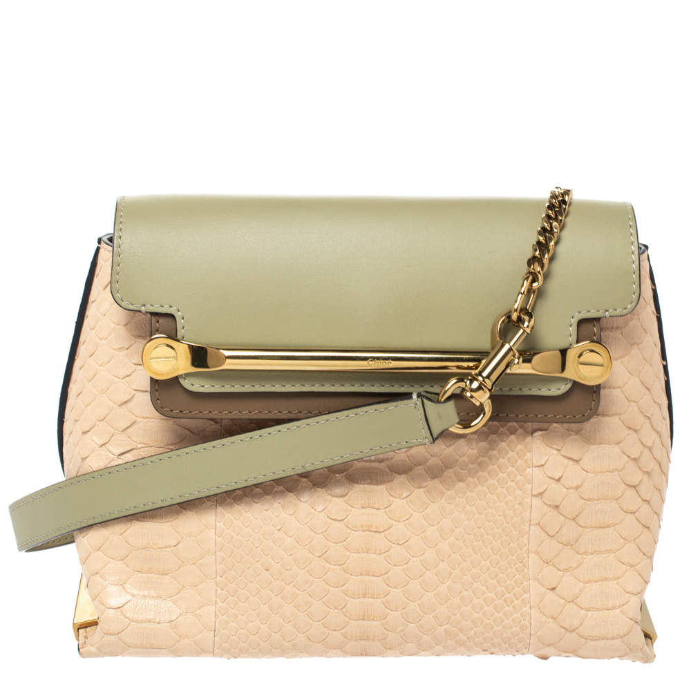 Chloe Tri Color Leather and Python Small Clare Shoulder Bag