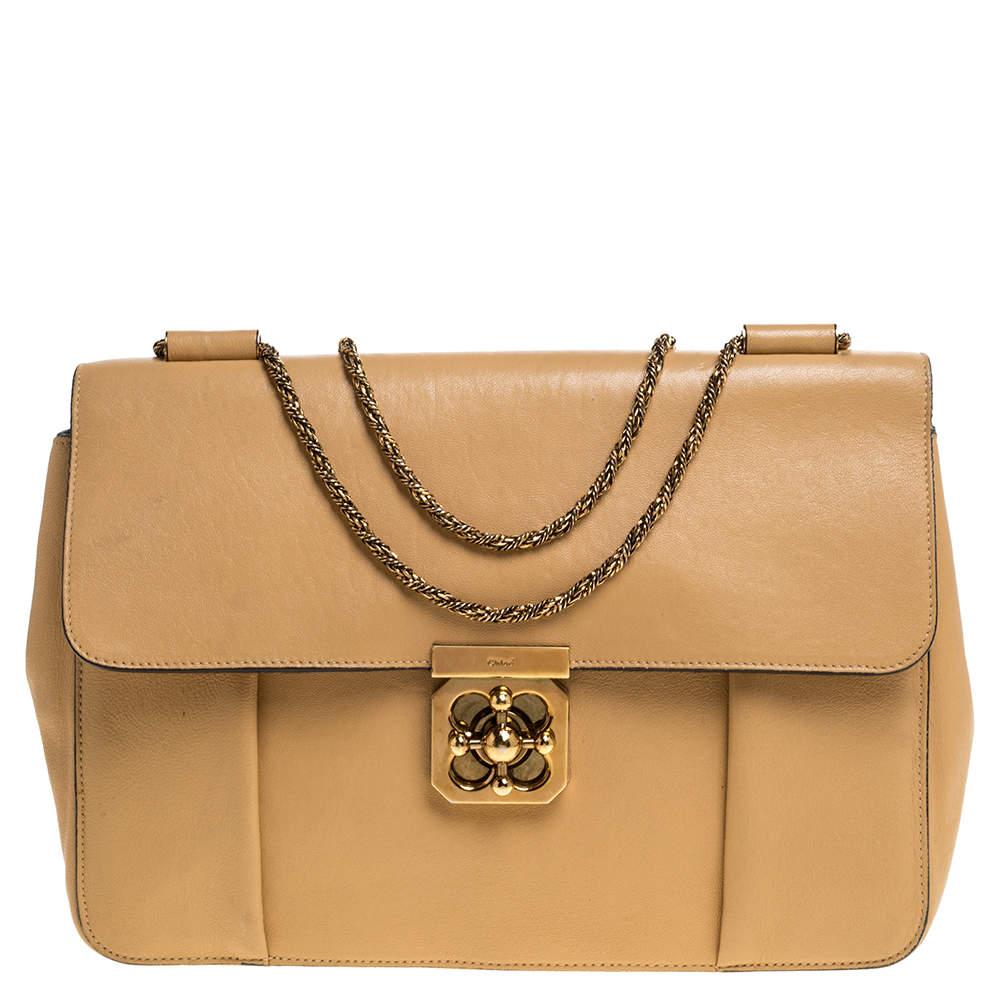 Chloe Beige Leather Large Elsie Shoulder Bag