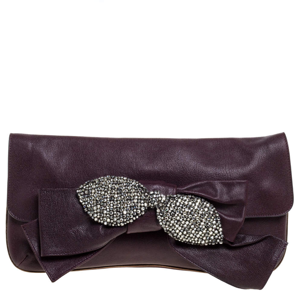 Chloe Burgundy Leather Bow Crystal Embellished Clutch