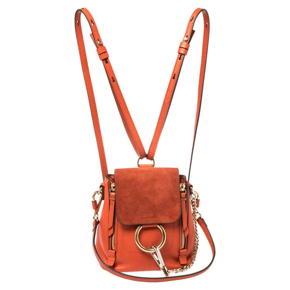 Chloe Orange Leather and Suede Mini Faye Daye Backpack