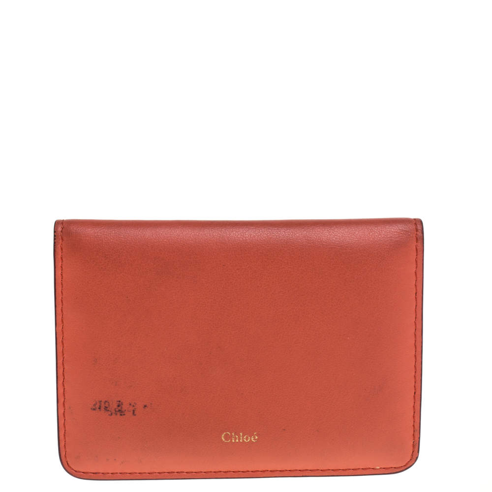 Chloe Orange/Beige Leather Card Holder