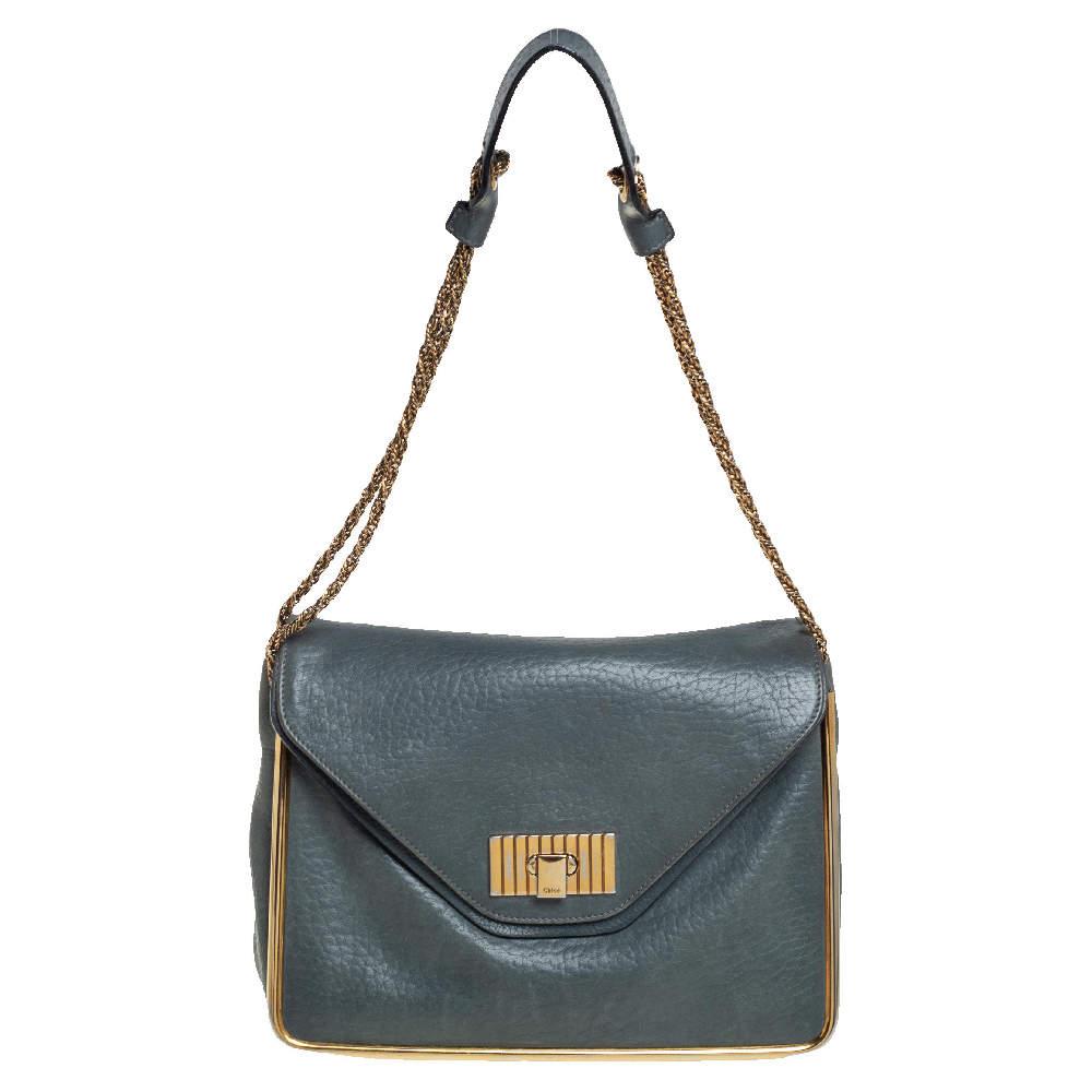 Chloe Stone Blue Leather Medium Sally Flap Shoulder Bag