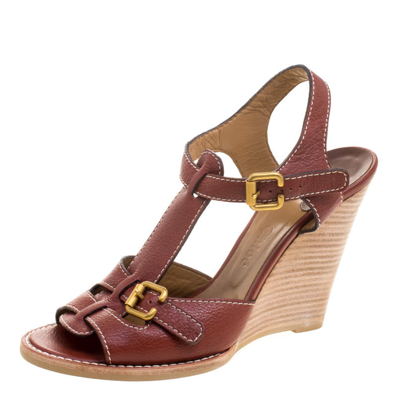 Chloe Brown Leather Wooden Wedge Sandals Size 40.5