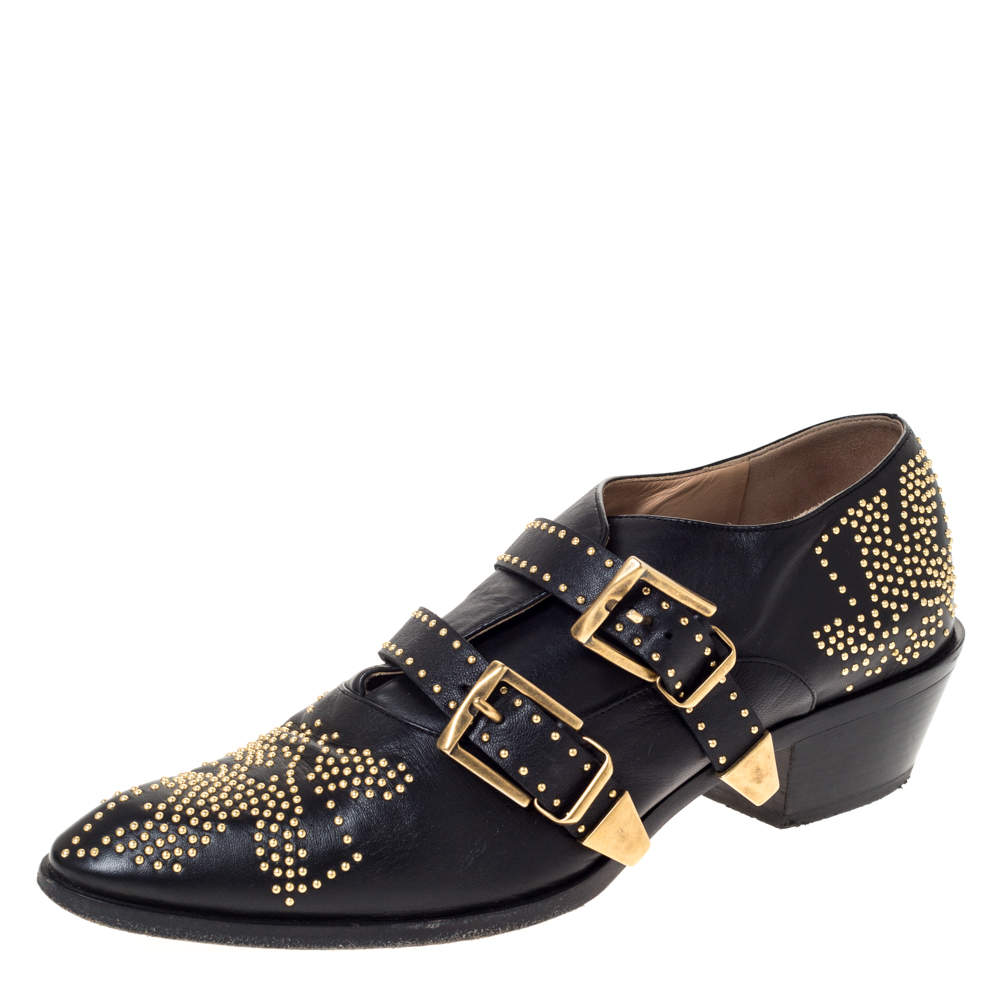 Chloe Black Leather Suzanna Studded Double Buckle Detail Loafers Size 40