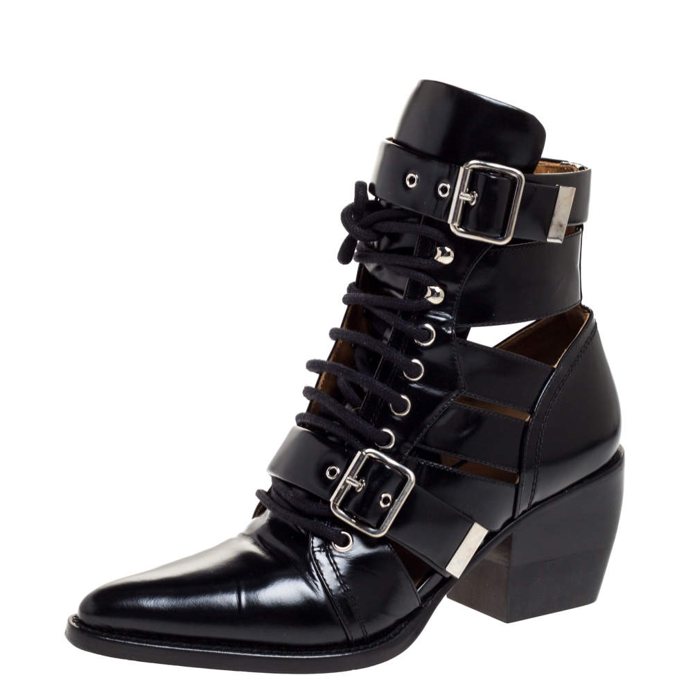 Chloe Black Leather Serina Lace Up Buckle Detail Block Heel Ankle Boots Size 39